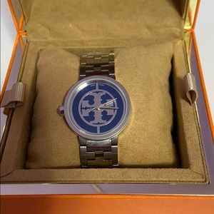Tory Burch Navy/ Silver Reva Stainless Steel Watch